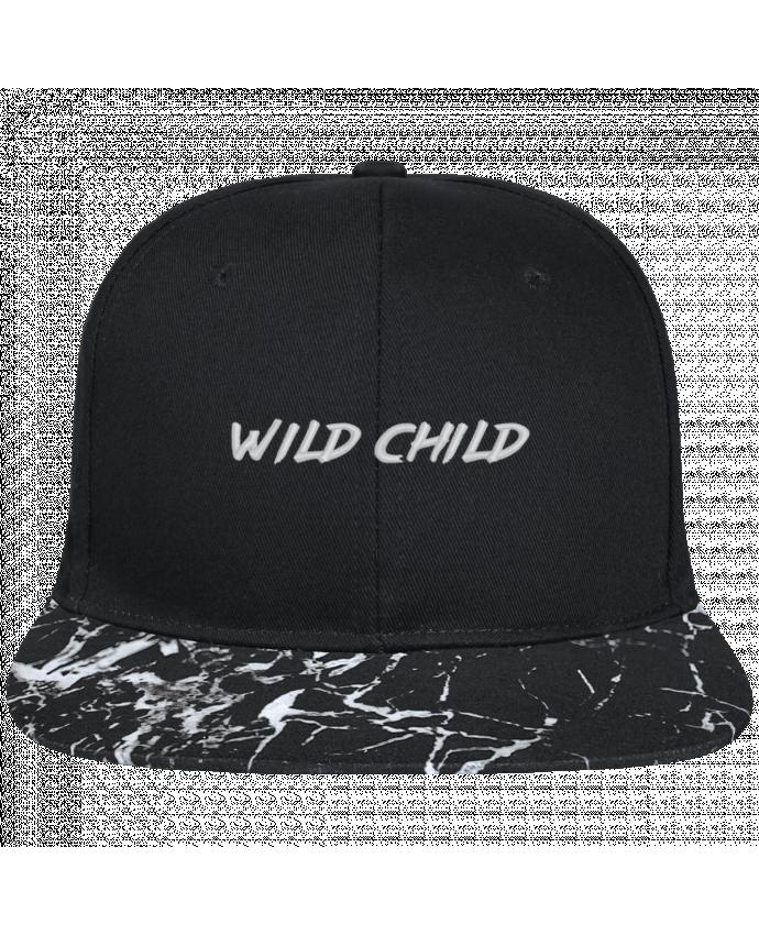 Casquette SnapBack Visière Graphique Noir Minéral Wild Child brodé avec toile noire 100% coton et visière imprimée mot