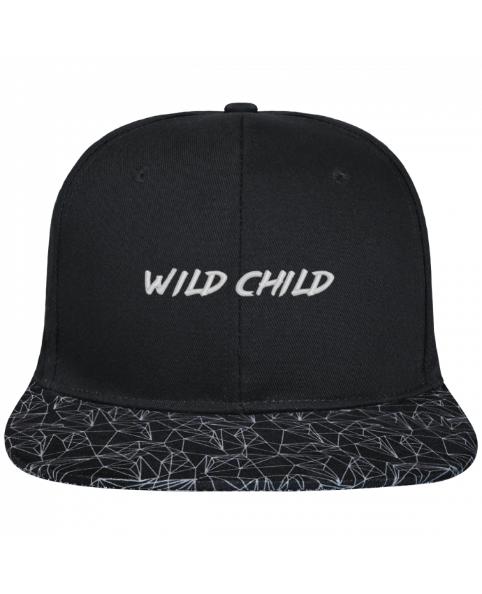 Casquette SnapBack Visière Graphique Noir Géométrique Wild Child brodé avec toile noire 100% coton et visière imprimée