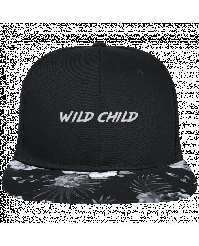Casquette SnapBack Visière Graphique Fleur Hawaii Wild Child brodé avec toile noire 100% coton et visière imprimée fleurs 100%