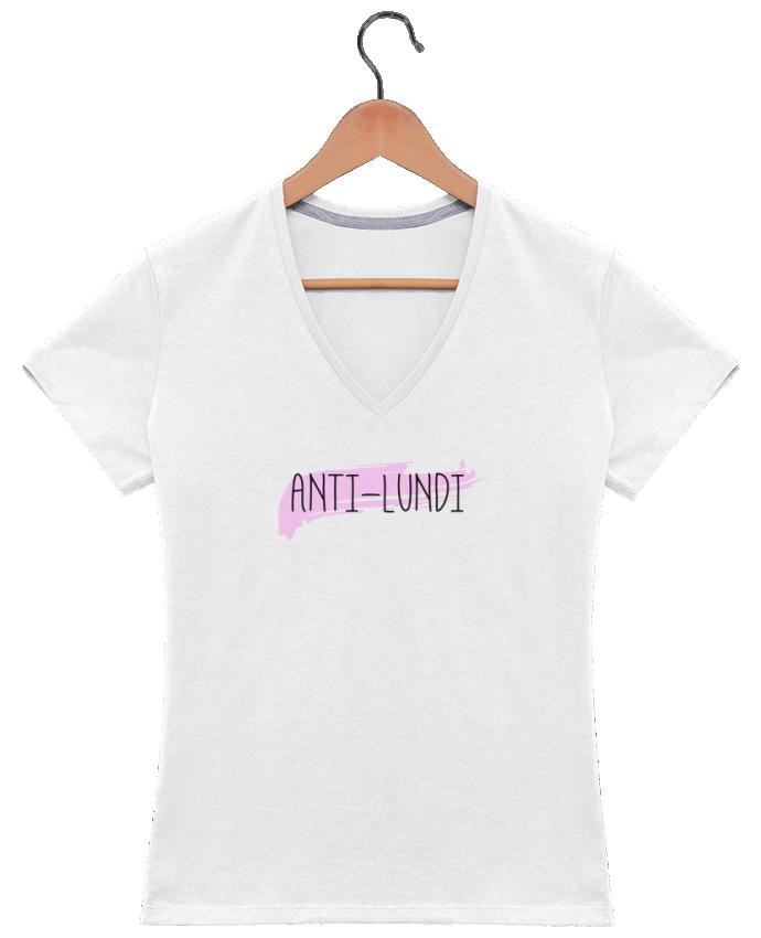 T-shirt Col V Femme 180 gr Anti-lundi par tunetoo