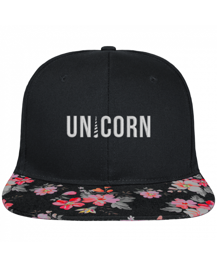 Casquette SnapBack Visière Graphique Noir Floral Unicorn brodé et visière à motifs 100% polyester et toile coton