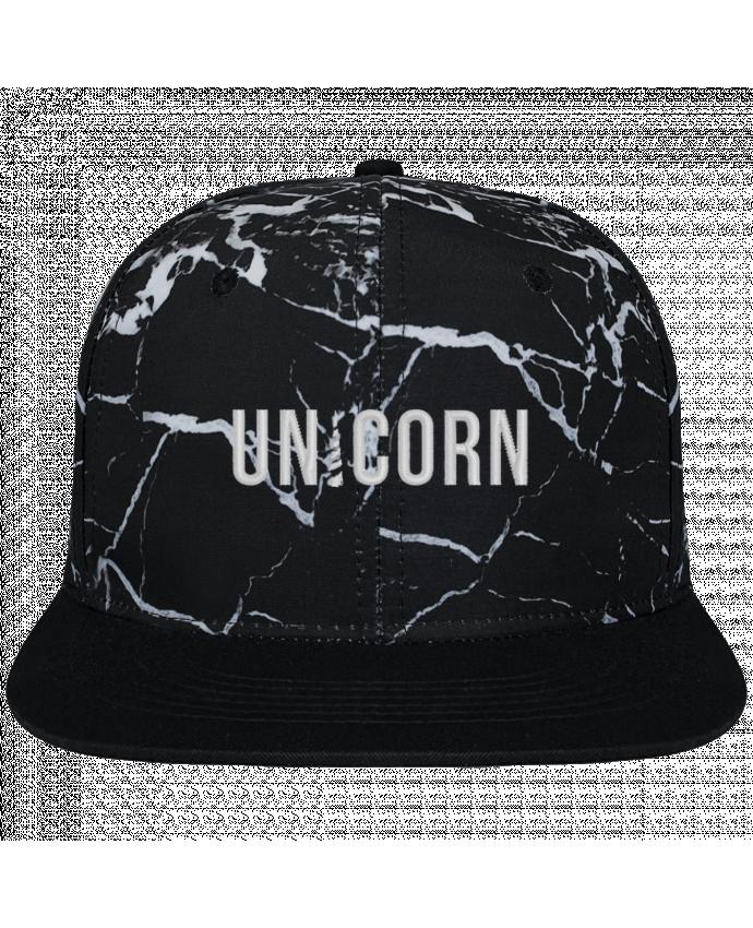 Casquette SnapBack Couronne Graphique Minéral Noir Unicorn brodé et toile imprimée motif minéral noir et blanc