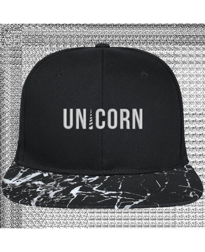 Casquette SnapBack Visière Graphique Noir Minéral Unicorn brodé avec toile noire 100% coton et visière imprimée motif