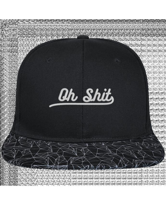 Casquette SnapBack Visière Graphique Noir Géométrique Oh shit brodé avec toile noire 100% coton et visière imprimée 100