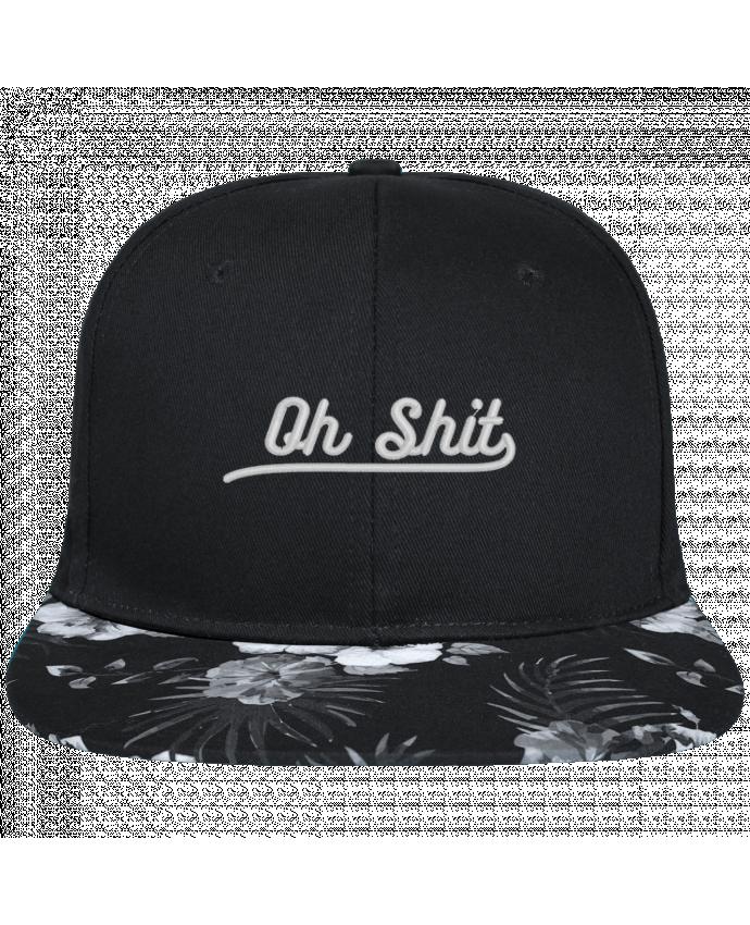 Snapback black hawaiian Oh shit brodé avec toile noire 100% coton et visière imprimée fleurs 100% po