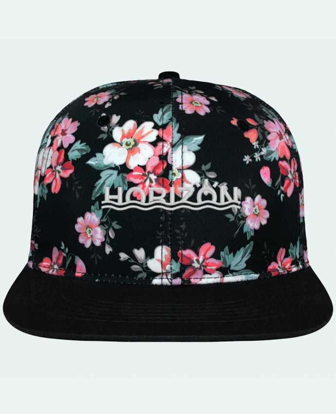 Casquette Snapback Couronne Graphique Floral Noir Horizon brodé avec toile motif à fleurs 100% polyester et visière no