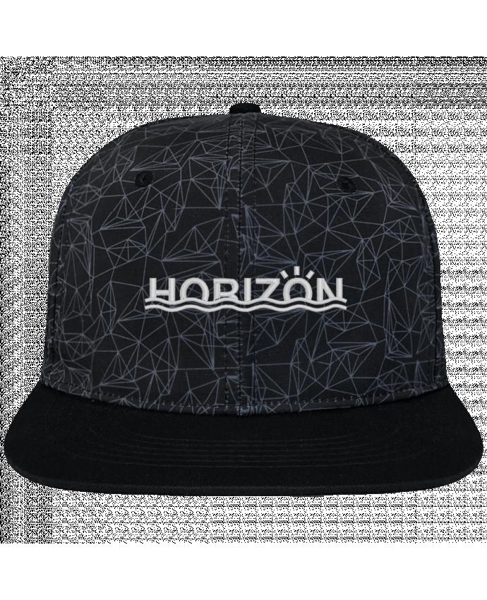 Casquette SnapBack Couronne Graphique Géométrique Horizon brodé avec toile imprimée et visière noire