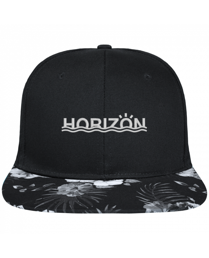 Casquette SnapBack Visière Graphique Fleur Hawaii Horizon brodé avec toile noire 100% coton et visière imprimée fleurs 100% po