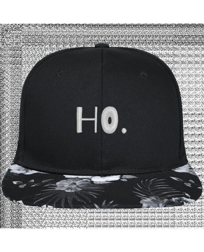 Casquette SnapBack Visière Graphique Fleur Hawaii Ho. brodé avec toile noire 100% coton et visière imprimée fleurs 100% polyes