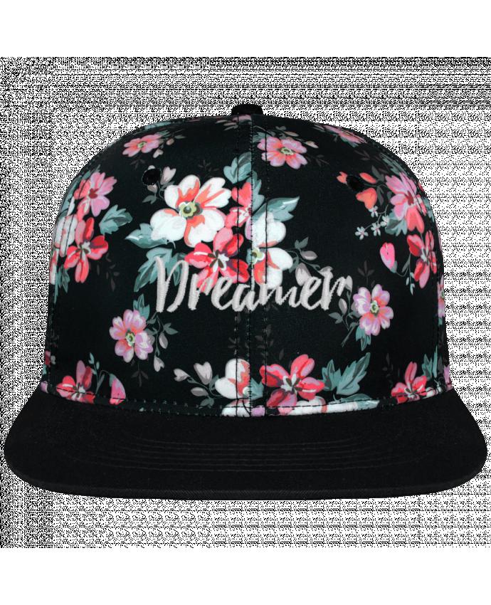 Casquette Snapback Couronne Graphique Floral Noir Dreamer brodé avec toile motif à fleurs 100% polyester et visière no