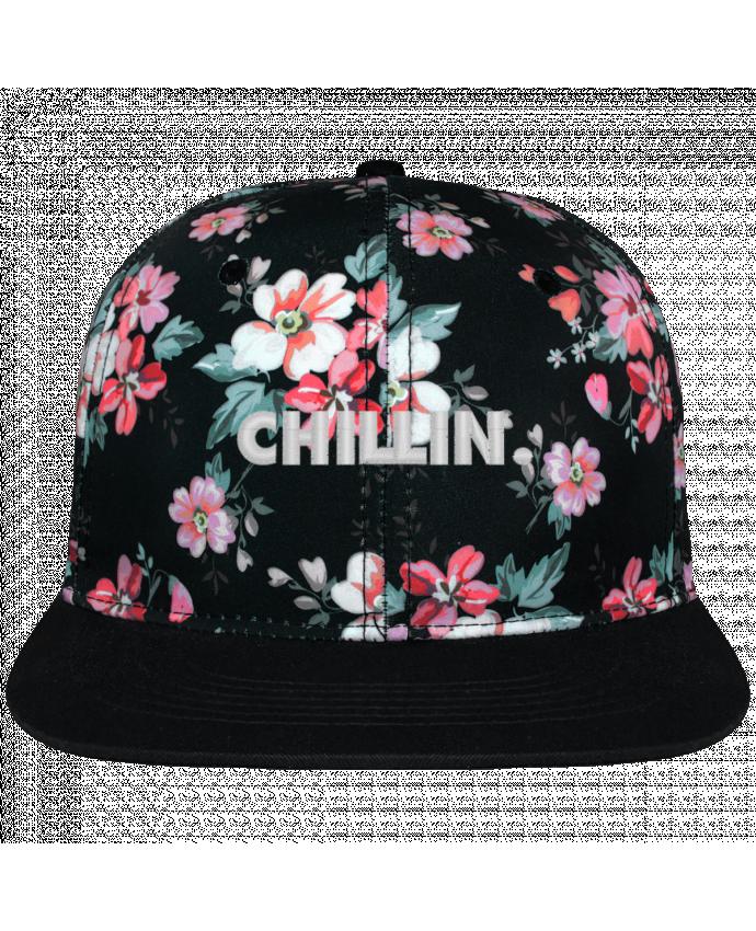 Casquette Snapback Couronne Graphique Floral Noir Chillin. brodé avec toile motif à fleurs 100% polyester et visière n