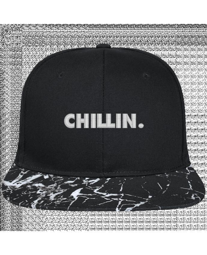 Casquette SnapBack Visière Graphique Noir Minéral Chillin. brodé avec toile noire 100% coton et visière imprimée motif