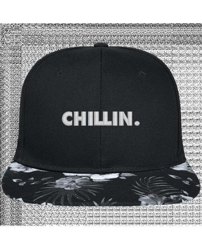 Snapback black hawaiian Chillin. brodé avec toile noire 100% coton et visière imprimée fleurs 100% p
