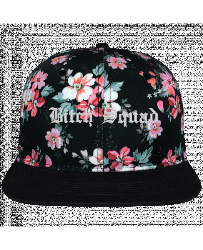 Casquette Snapback Couronne Graphique Floral Noir Bitch Squad brodé avec toile motif à fleurs 100% polyester et visièr
