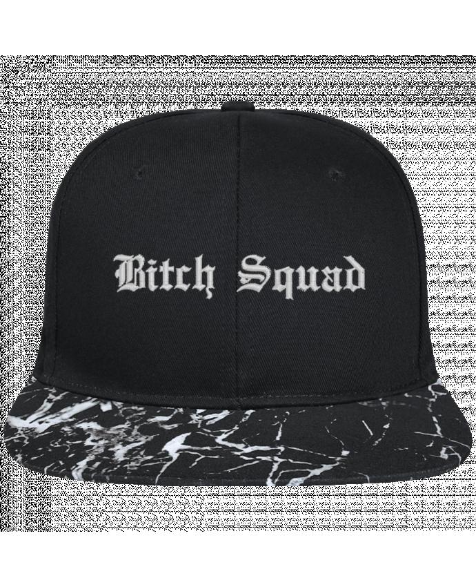 Casquette SnapBack Visière Graphique Noir Minéral Bitch Squad brodé avec toile noire 100% coton et visière imprimée mo