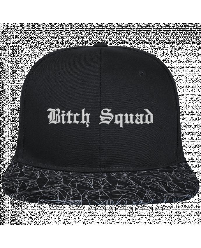 Snapback noire visière géométrique Bitch Squad brodé avec toile noire 100% coton et visière imprimée