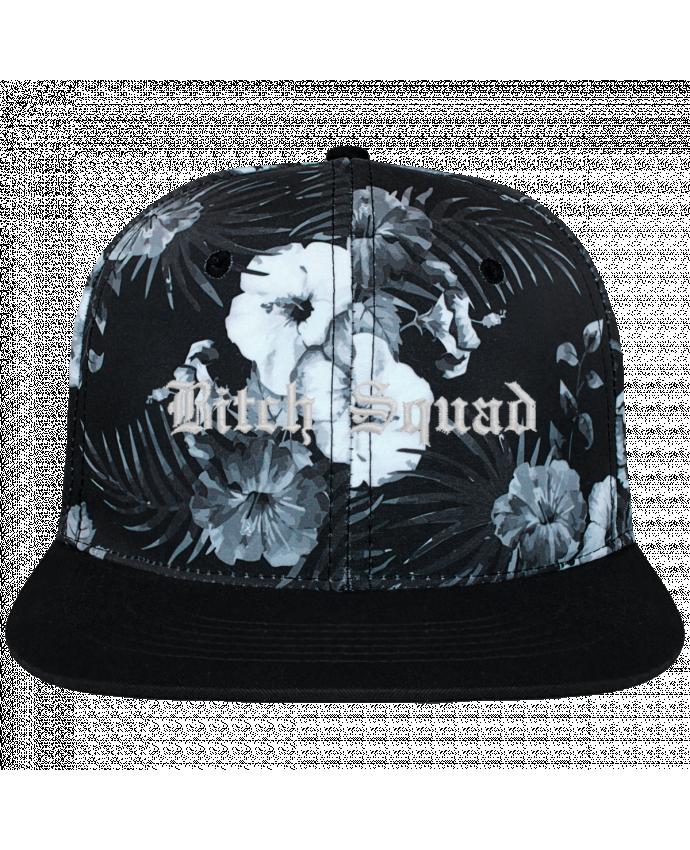 Casquette SnapBack Couronne Graphique Hawaii Bitch Squad brodé et toile imprimée motif floral noir et blan