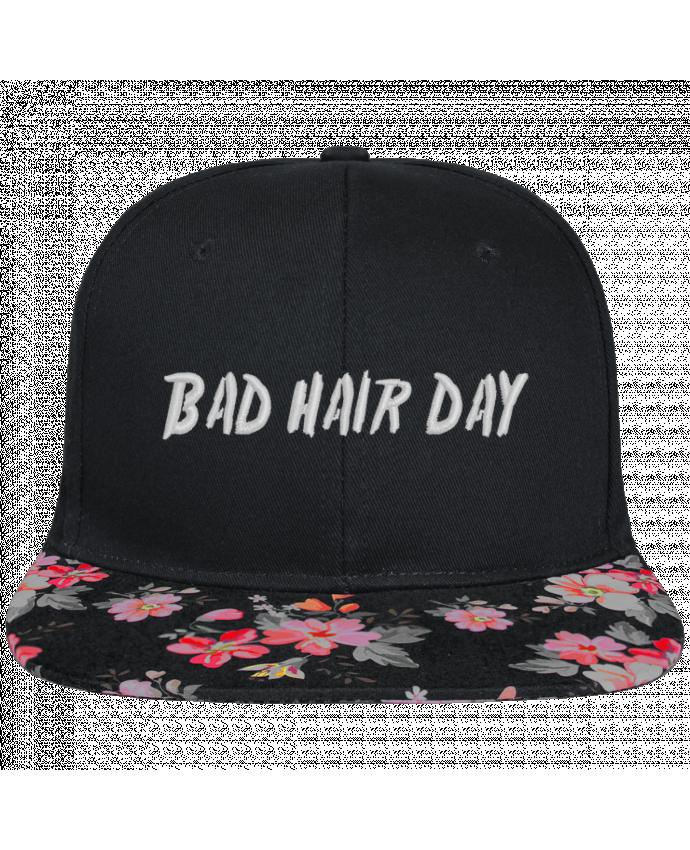 Casquette SnapBack Visière Graphique Noir Floral Bad hair day brodé et visière à motifs 100% polyester et toile coton