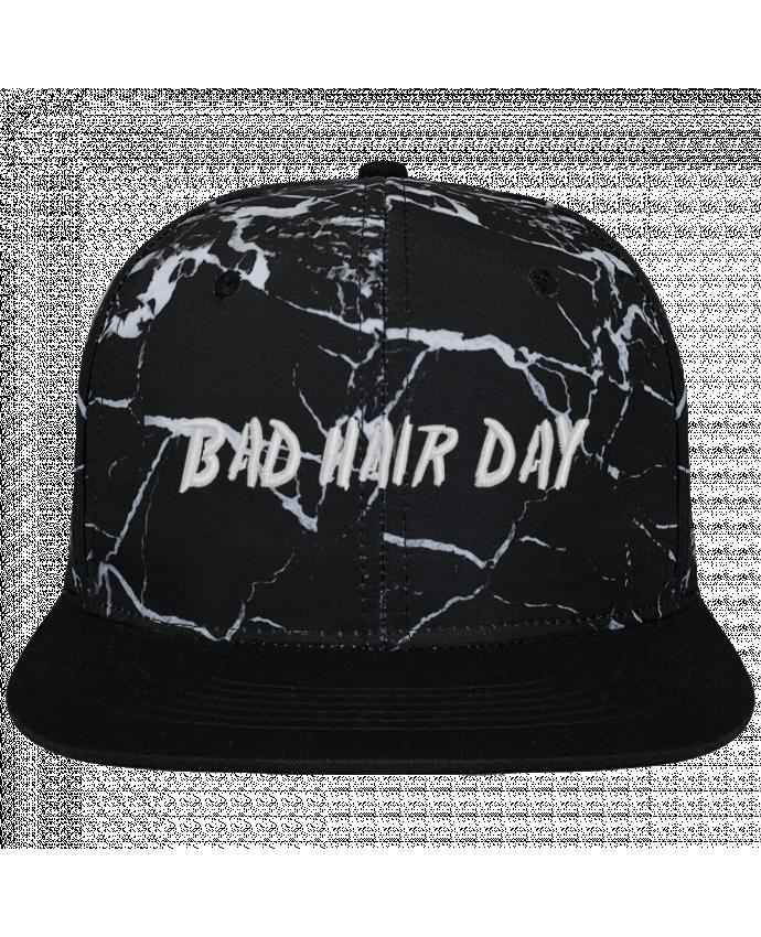 Casquette SnapBack Couronne Graphique Minéral Noir Bad hair day brodé et toile imprimée motif minéral noir et blanc