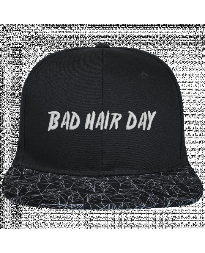 Casquette SnapBack Visière Graphique Noir Géométrique Bad hair day brodé avec toile noire 100% coton et visière imprimé