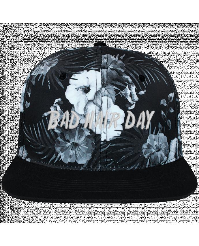 Casquette SnapBack Couronne Graphique Hawaii Bad hair day brodé et toile imprimée motif floral noir et bla