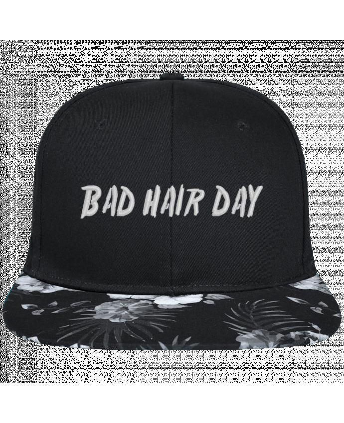 Casquette SnapBack Visière Graphique Fleur Hawaii Bad hair day brodé avec toile noire 100% coton et visière imprimée fleurs 10
