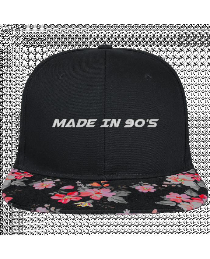 Casquette SnapBack Visière Graphique Noir Floral Made in 90s brodé et visière à motifs 100% polyester et toile coton