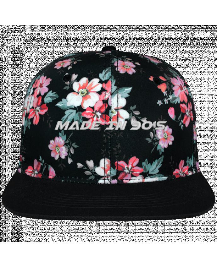 Casquette snapback floral black Made in 90s brodé avec toile motif à fleurs 100% polyester et visièr
