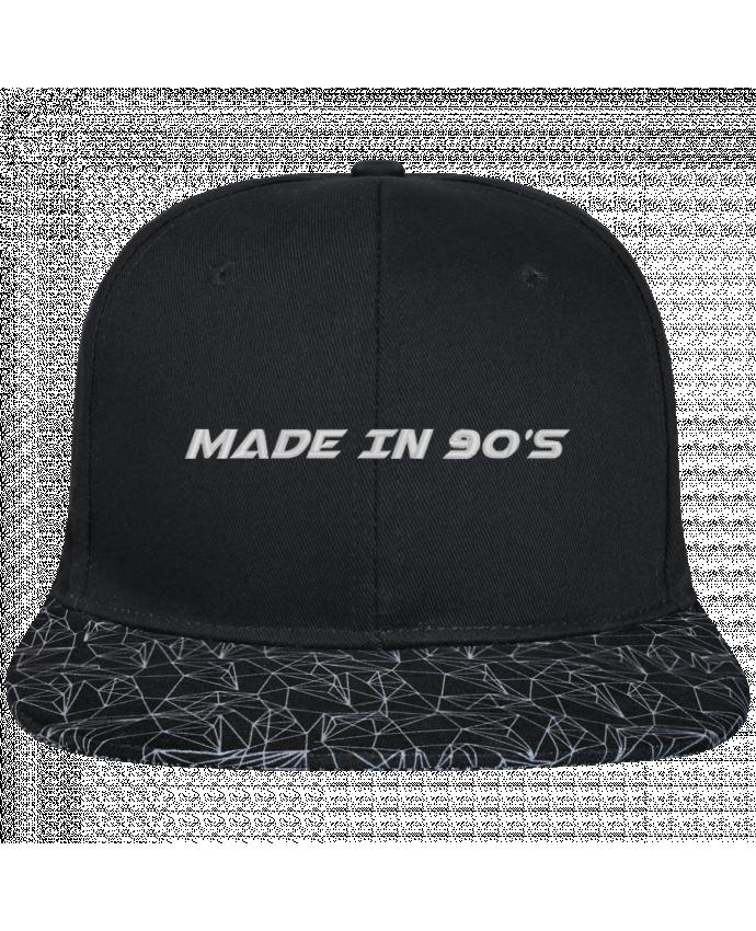 Snapback noire visière géométrique Made in 90s brodé avec toile noire 100% coton et visière imprimée