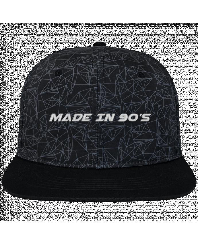Casquette snapback geometric noire Made in 90s brodé avec toile imprimée et visière noire