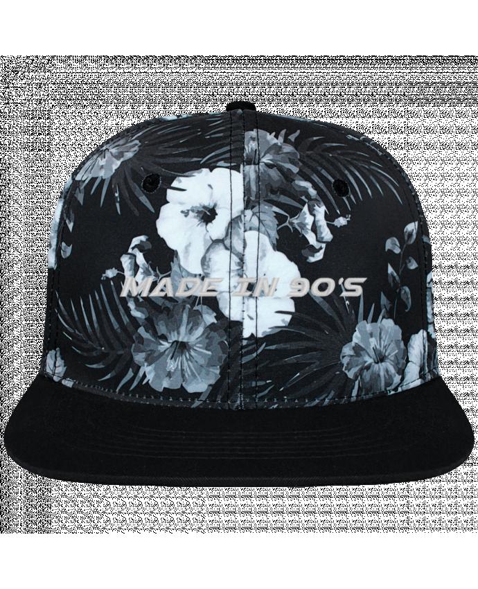 Casquette SnapBack Couronne Graphique Hawaii Made in 90s brodé et toile imprimée motif floral noir et blan