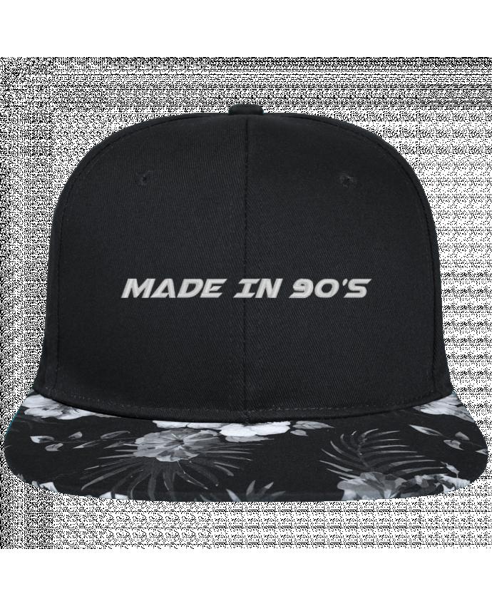 Casquette SnapBack Visière Graphique Fleur Hawaii Made in 90s brodé avec toile noire 100% coton et visière imprimée fleurs 100
