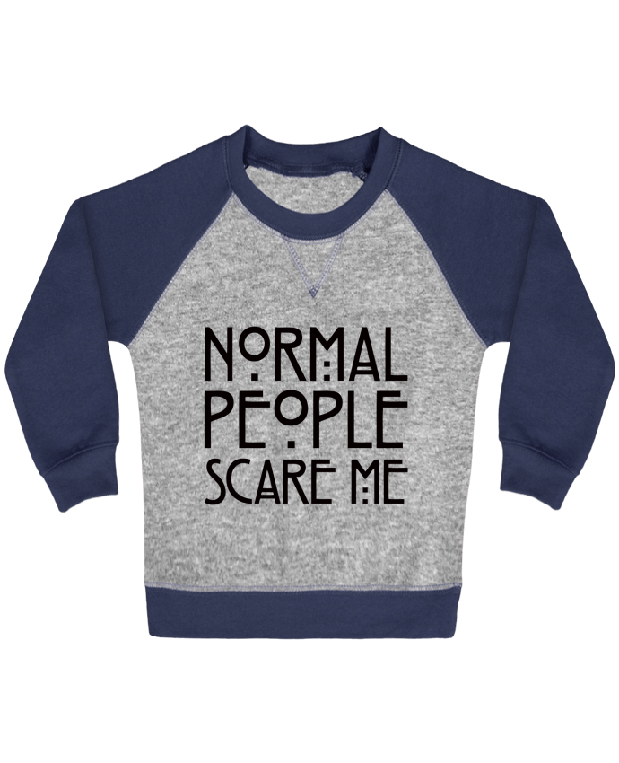 Sweat Shirt Bébé Col Rond Manches Raglan Contrastées Normal People Scare Me par Freeyourshirt.com