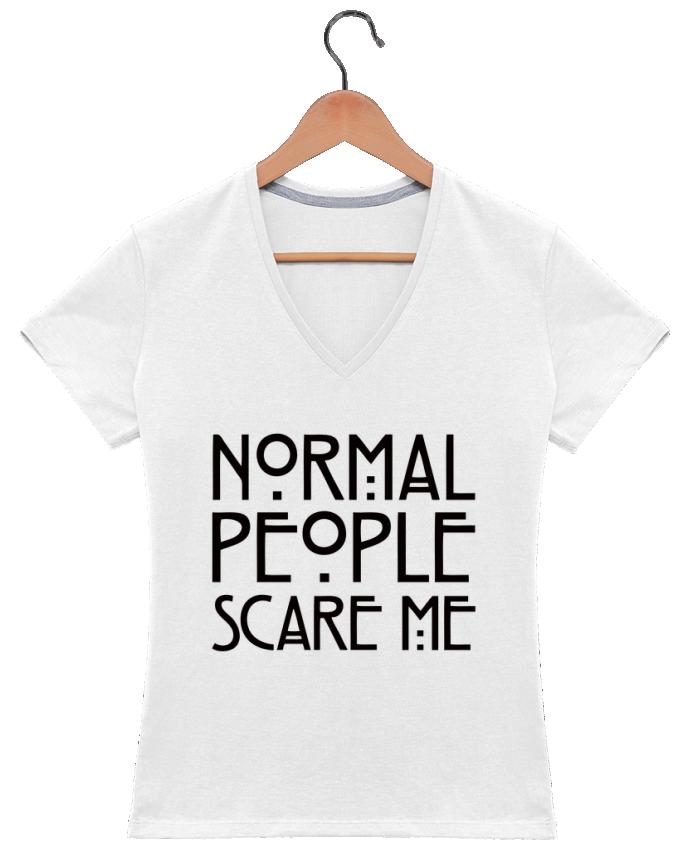T-shirt Col V Femme 180 gr Normal People Scare Me par Freeyourshirt.com