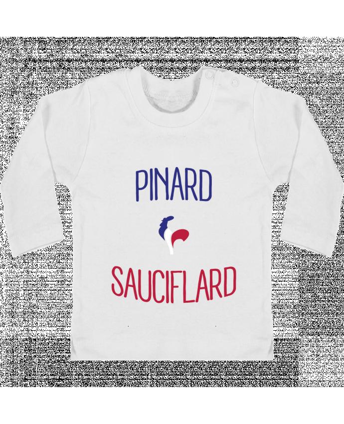 T-shirt Bébé Manches Longues Boutons Pression Pinard Sauciflard manches longues du designer Freeyourshirt.com