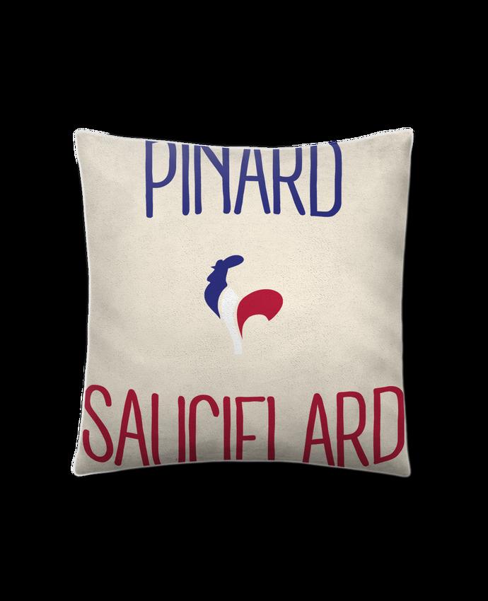 Coussin Toucher Peau de Pêche 41 x 41 cm Pinard Sauciflard par Freeyourshirt.com