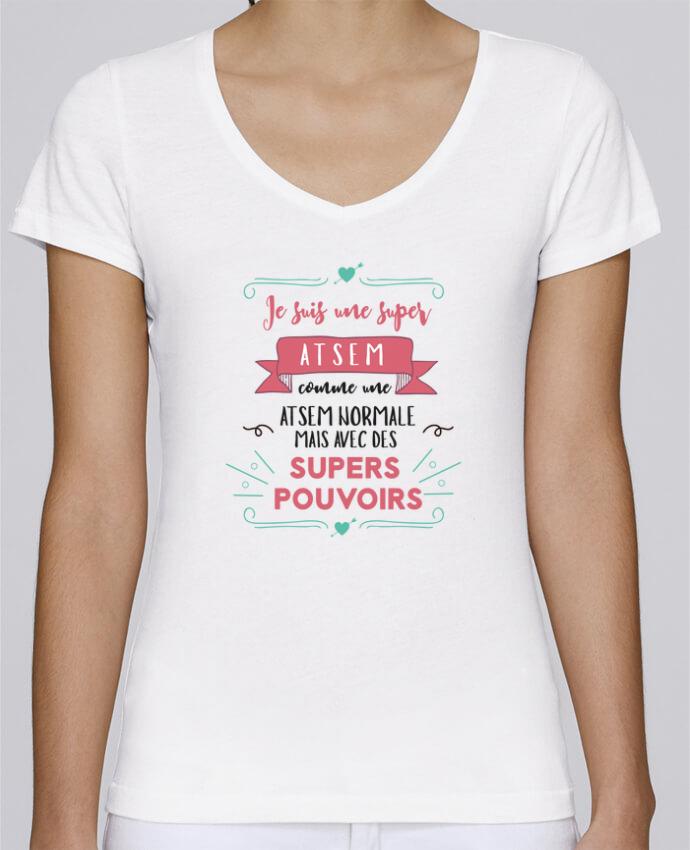 T-shirt Femme Col V Stella Chooses Je suis une super ATSEM par tunetoo