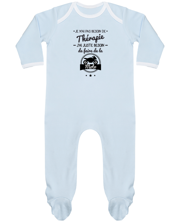 Pyjama Bébé Manches Longues Contrasté J'ai juste besoin de ma moto, tee shirt moto, motard par Benichan