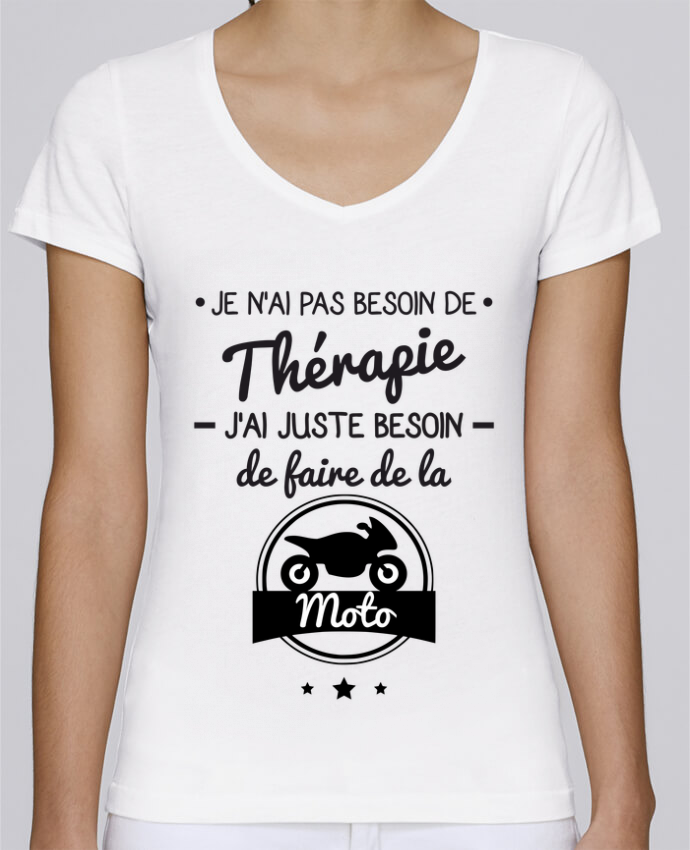T-shirt Femme Col V Stella Chooses J'ai juste besoin de ma moto, tee shirt moto, motard par Benicha