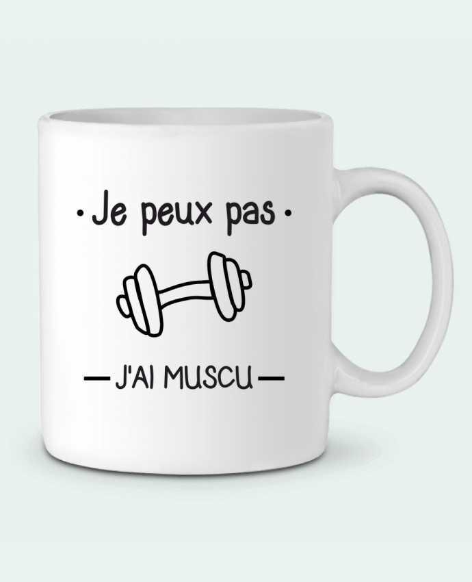 Mug en Céramique Je peux pas j'ai muscu, musculation par Benichan