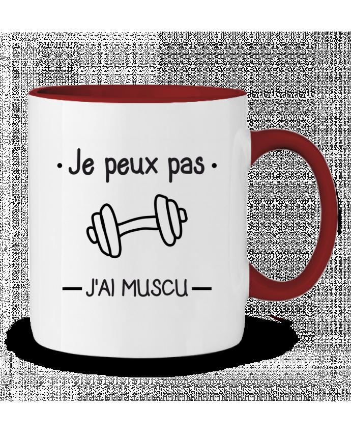 Mug en Céramique Bicolore Je peux pas j'ai muscu, musculation Benichan