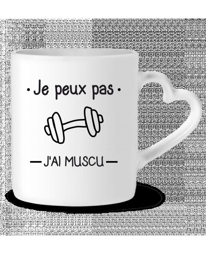 Mug Coeur Je peux pas j'ai muscu, musculation par Benichan