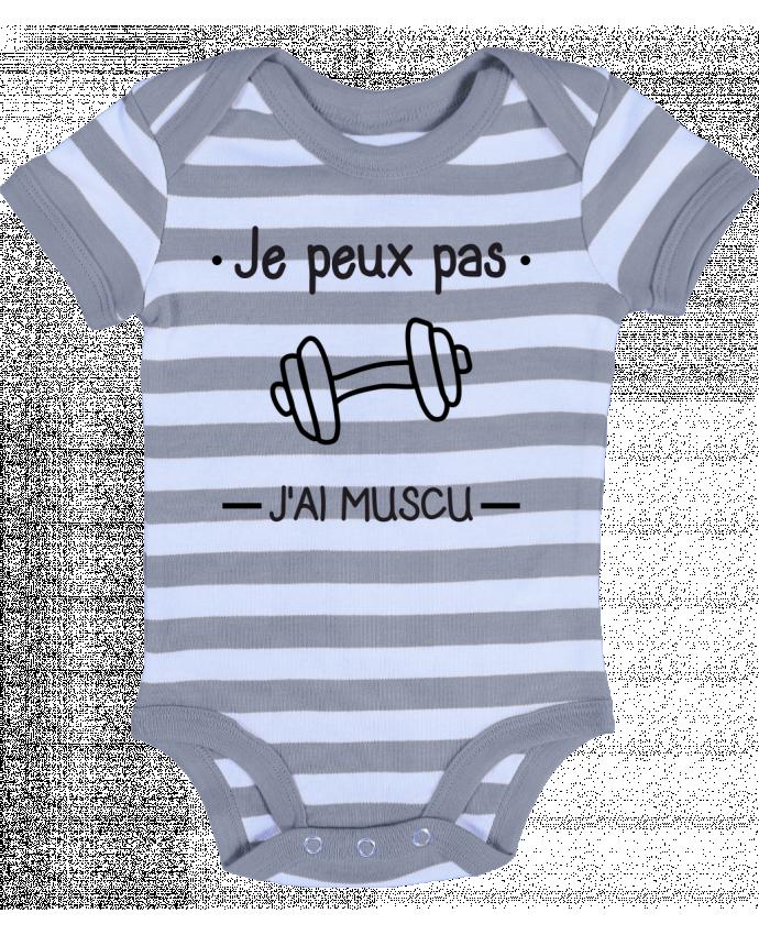 Body Bébé à Rayures Je peux pas j'ai muscu, musculation - Benichan