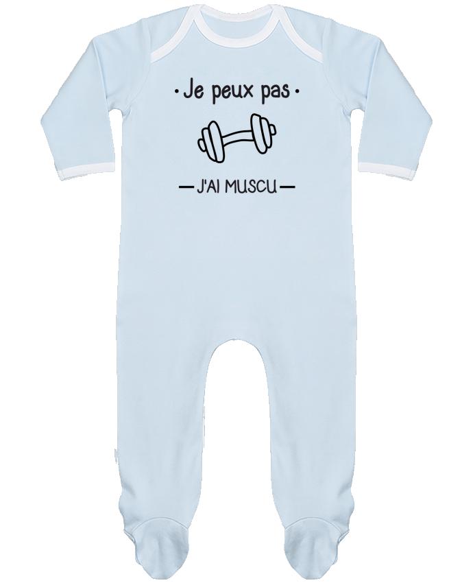 Pyjama Bébé Manches Longues Contrasté Je peux pas j'ai muscu, musculation par Benichan