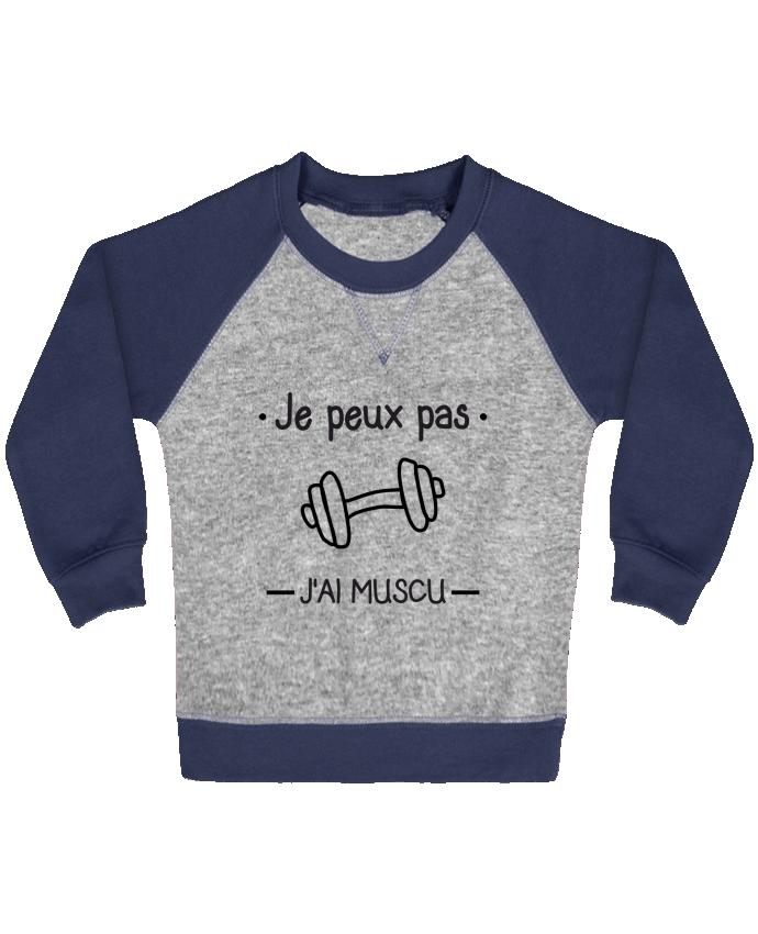 Sweat Shirt Bébé Col Rond Manches Raglan Contrastées Je peux pas j'ai muscu, musculation par Benichan