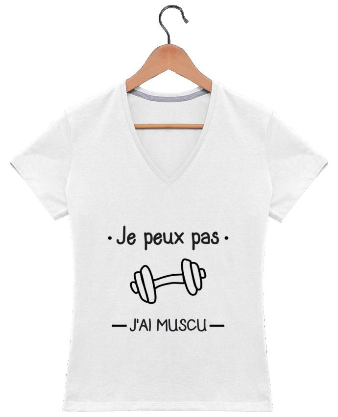 T-shirt Col V Femme 180 gr Je peux pas j'ai muscu, musculation par Benichan