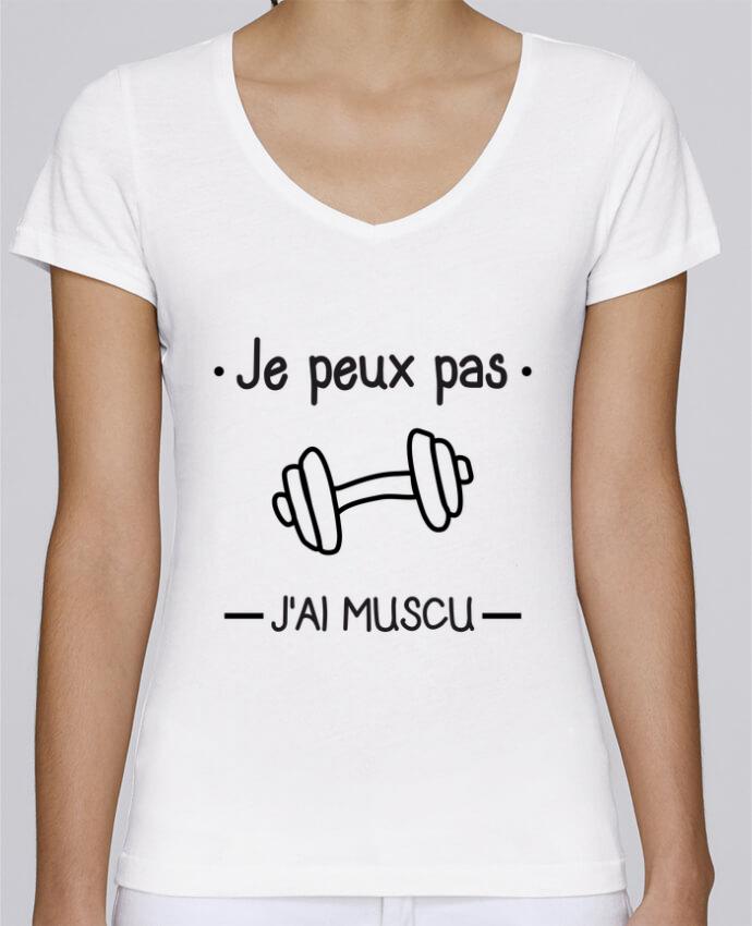 T-shirt Femme Col V Stella Chooses Je peux pas j'ai muscu, musculation par Benichan