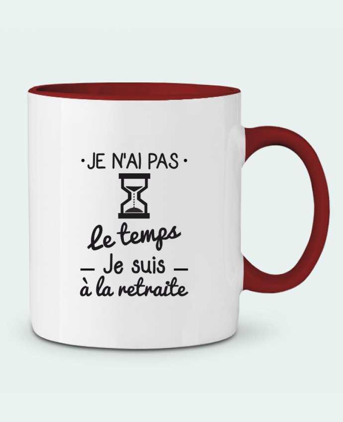 Mug en Céramique Bicolore Pas le temps, je suis à la retraite, tee shirt retraité Benichan