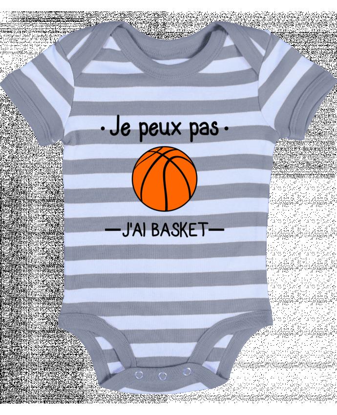 Body Bébé à Rayures Je peux pas j'ai basket,basketball,basket-ball - Benichan