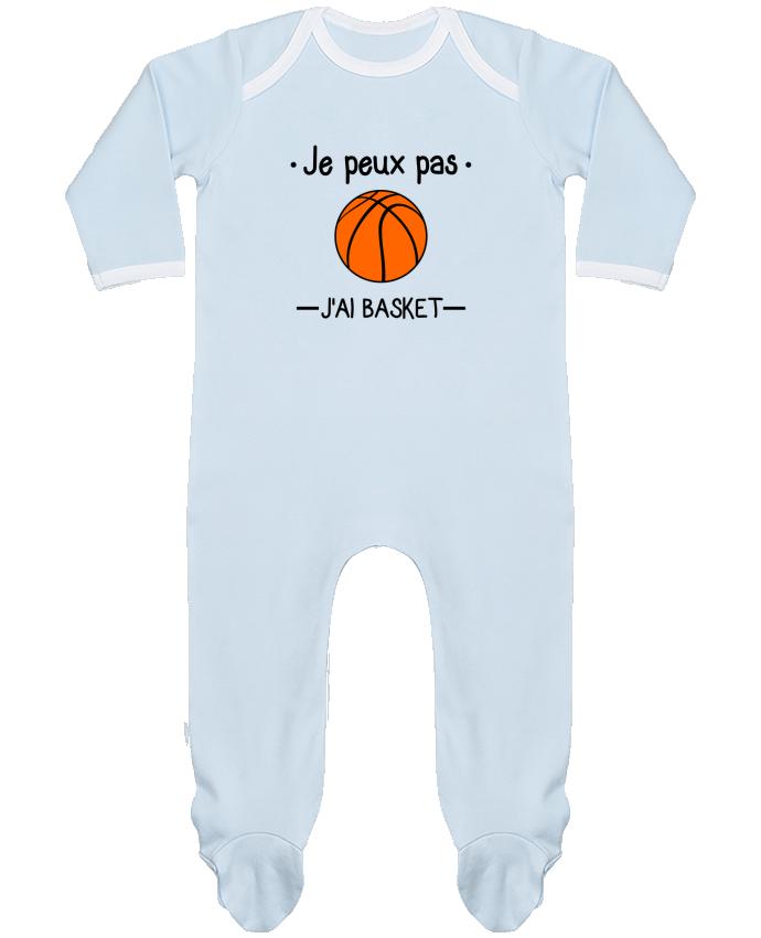 Pyjama Bébé Manches Longues Contrasté Je peux pas j'ai basket,basketball,basket-ball par Benichan